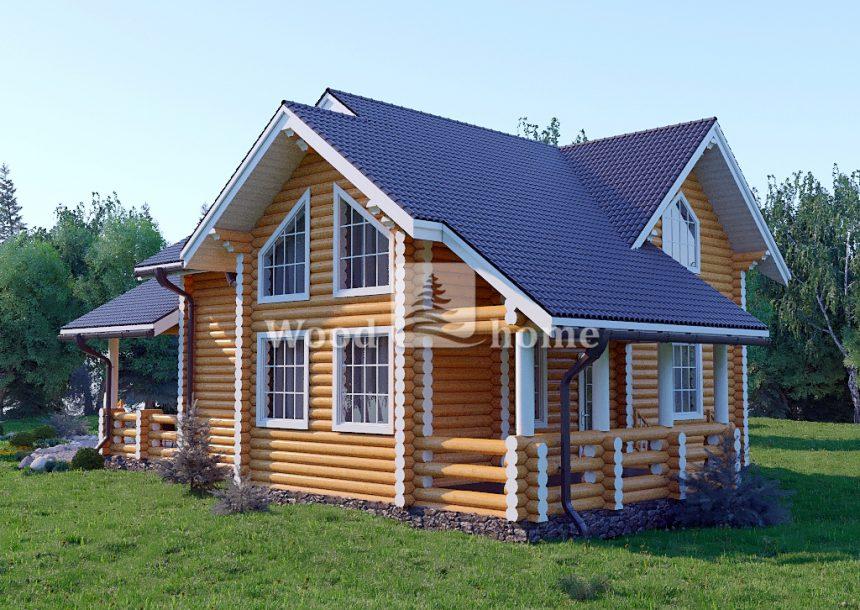 Деревянные дома с мансардой из бревна