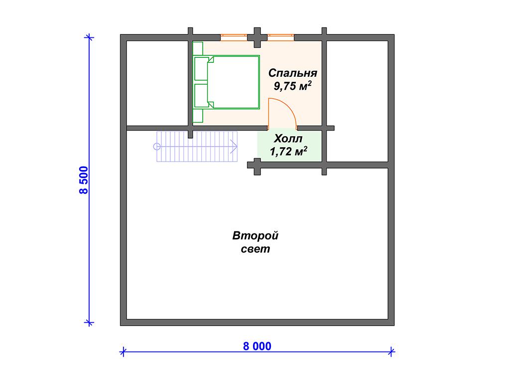 Дом 10 на 8 двухэтажный
