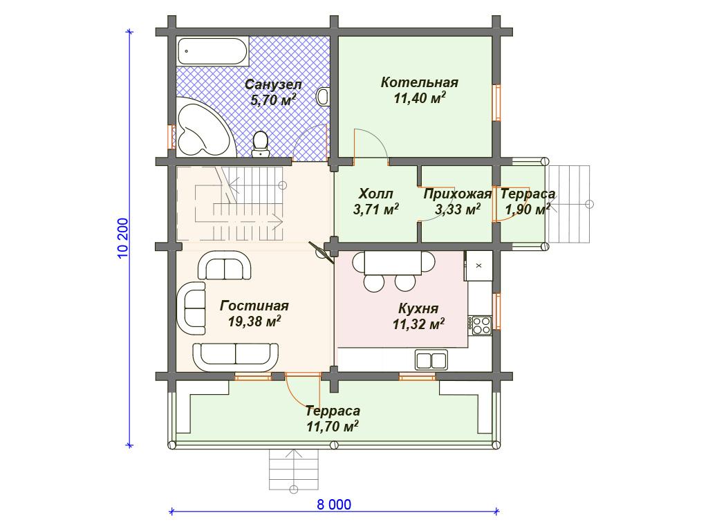 Дом из бревна 150 кв