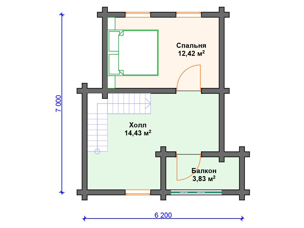 Дом из бревна 6х6