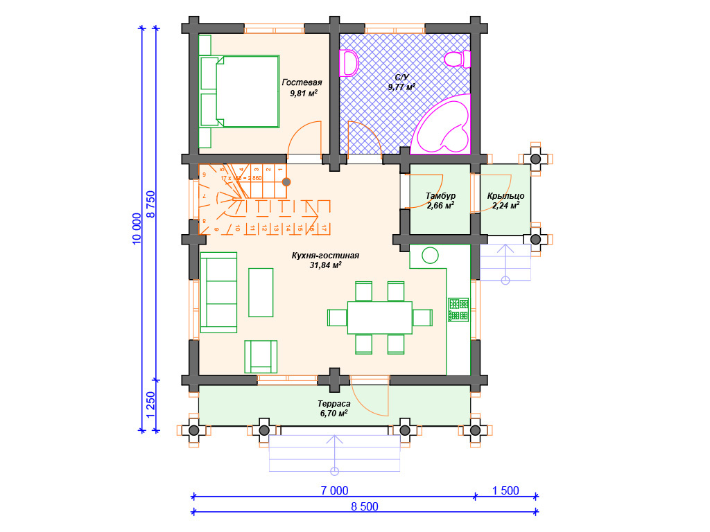 Дом из бревна 8 на 8 проекты