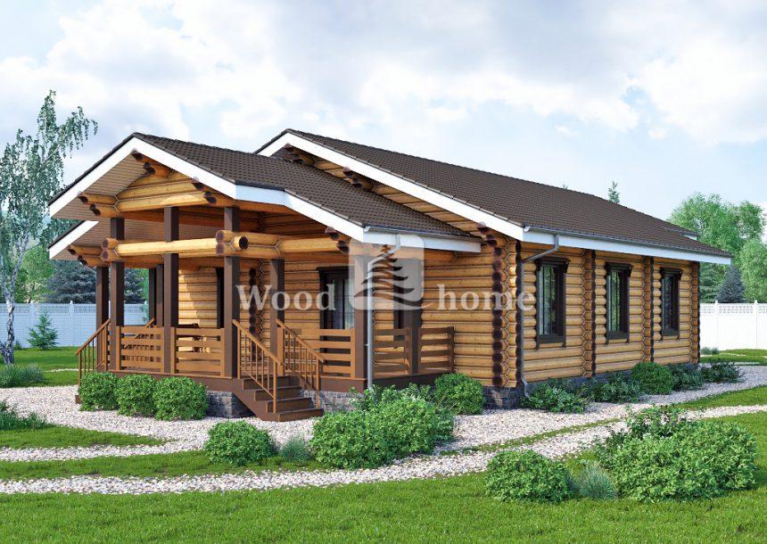 Дом из бревна с верандой проекты