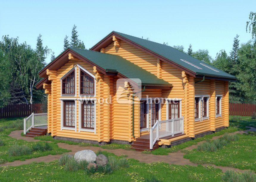 Дом из бревна со вторым светом