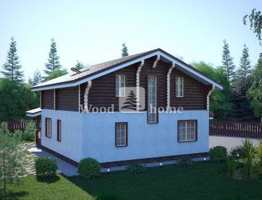 Дом из бревна в стиле шале