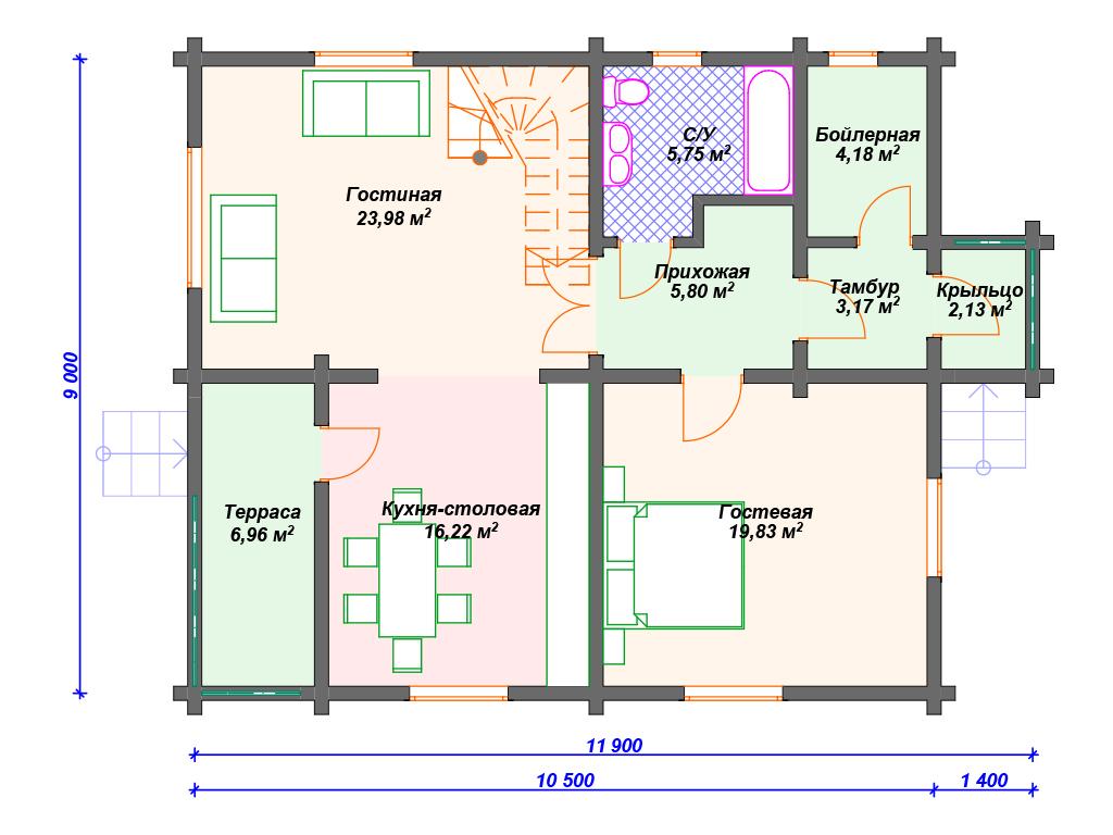 Дом из клееного бруса 200 м2