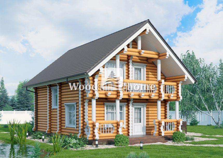 Дом из оцилиндрованного бревна с мансардой