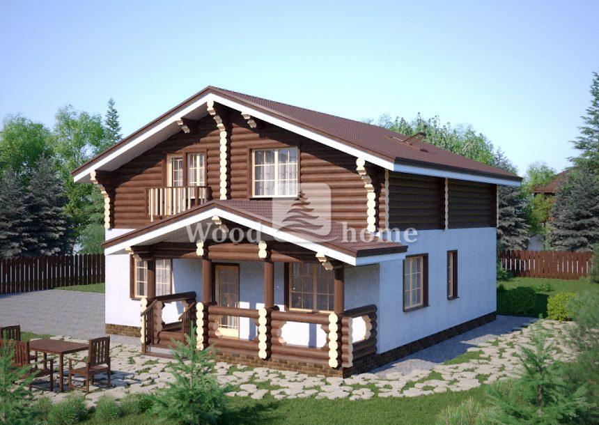 Дом комбинированный из пеноблоков и бревна