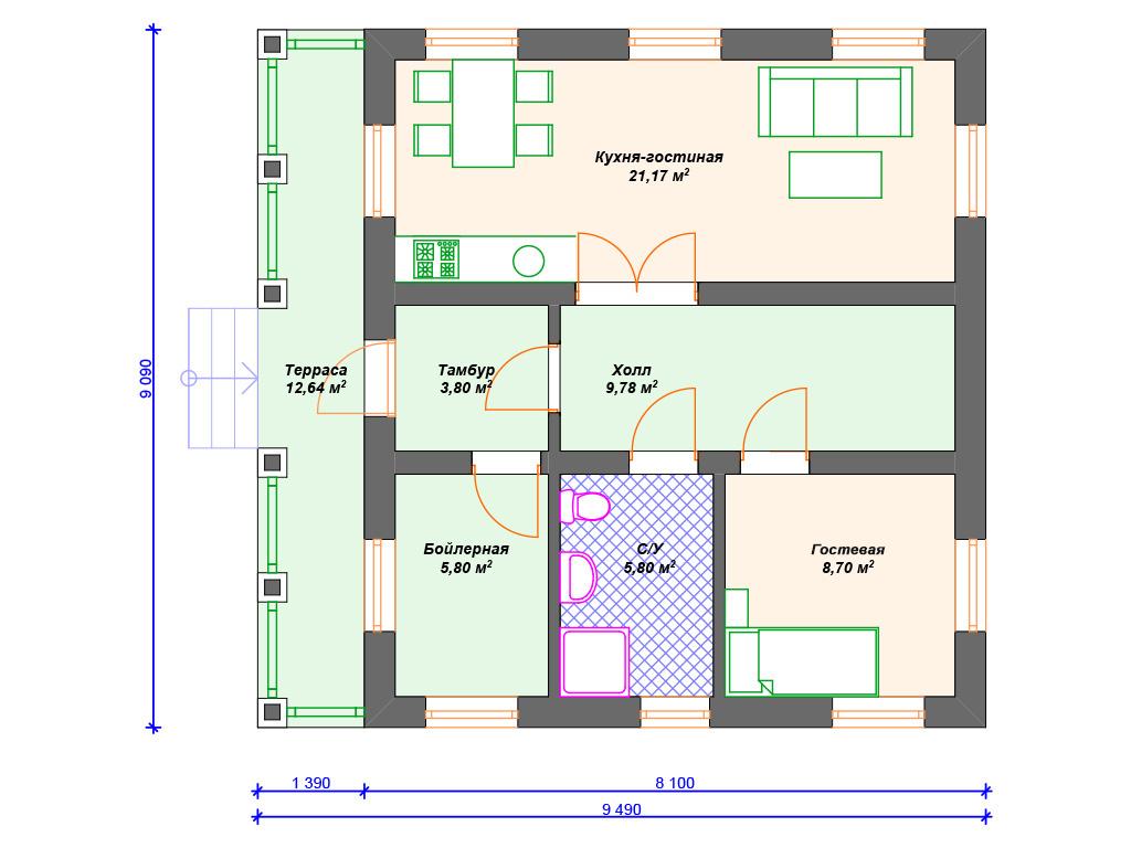 Проект дома из бруса в стиле шале