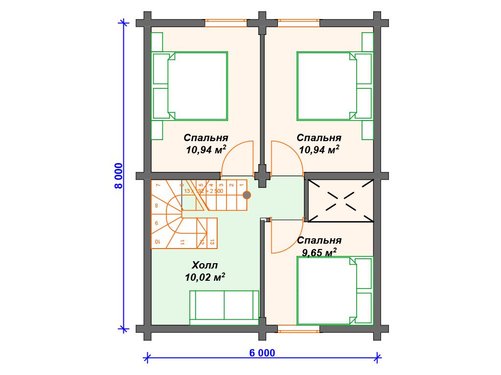Двухэтажные дома коттеджи