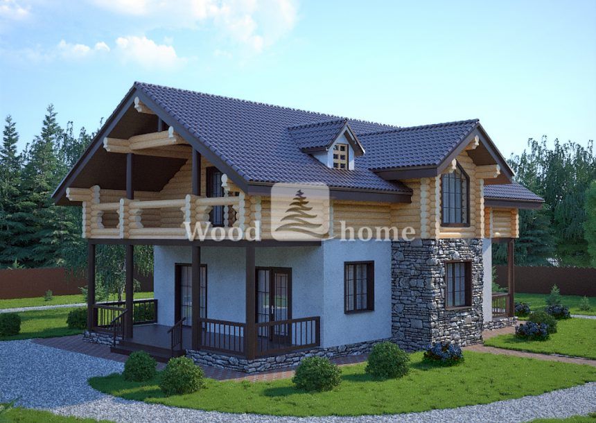 Комбинированный деревянный дом1