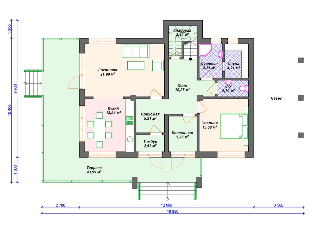 Комбинированный дом брус