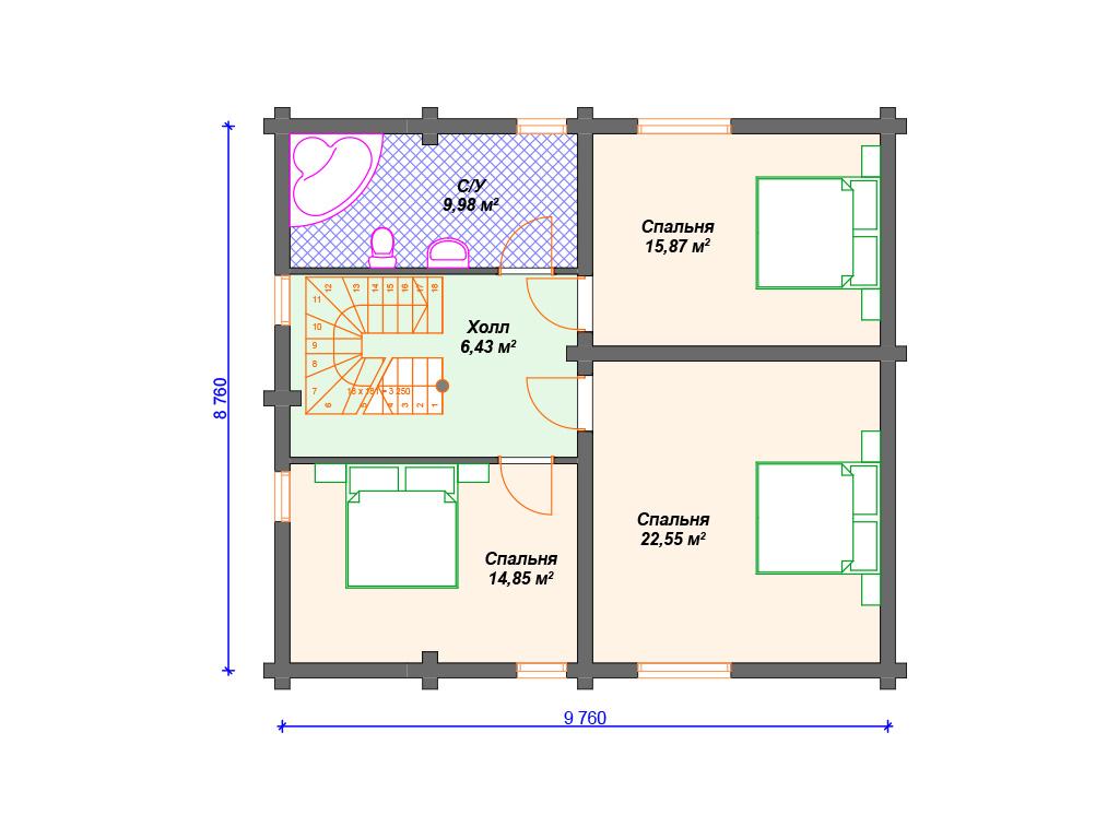 Комбинированный двухэтажный дом1