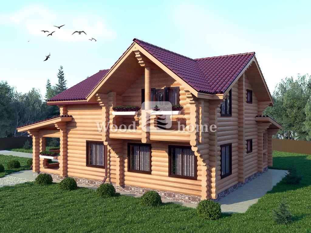 Небольшой дом из оцилиндрованного бревна