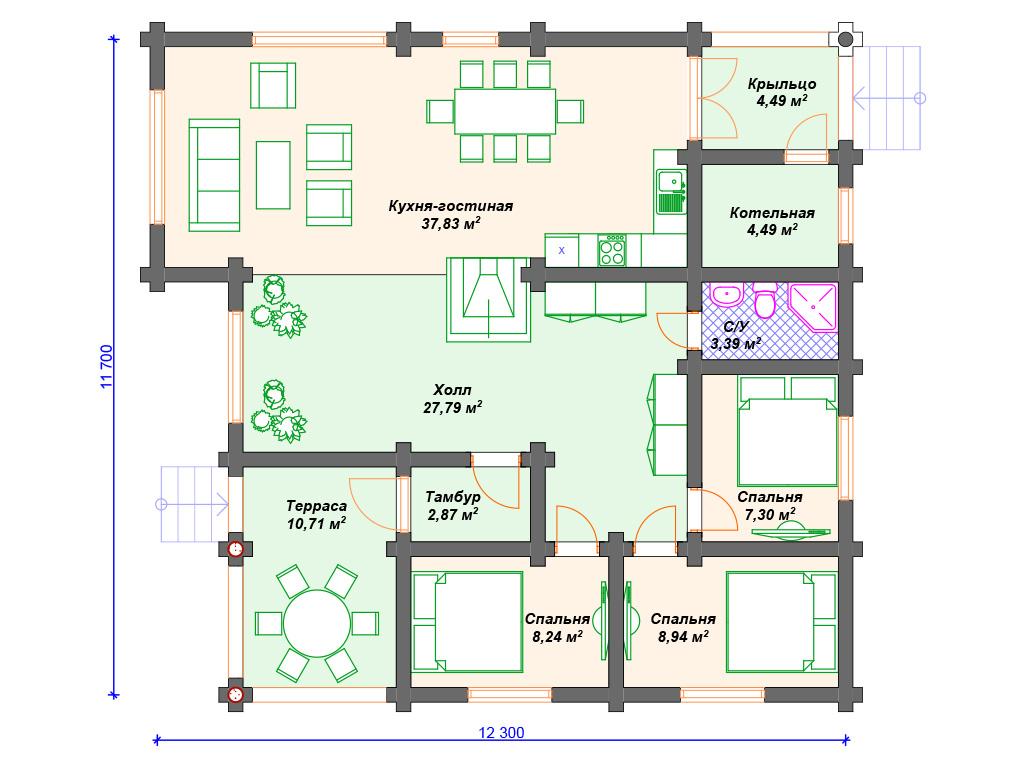 Одноэтажные дома из бревна фото цены