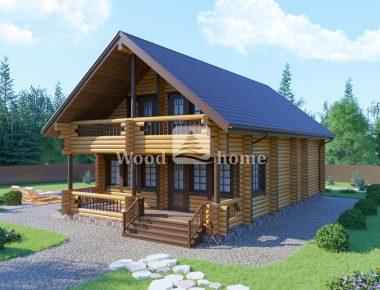 Одноэтажный дом из бревна 8х8
