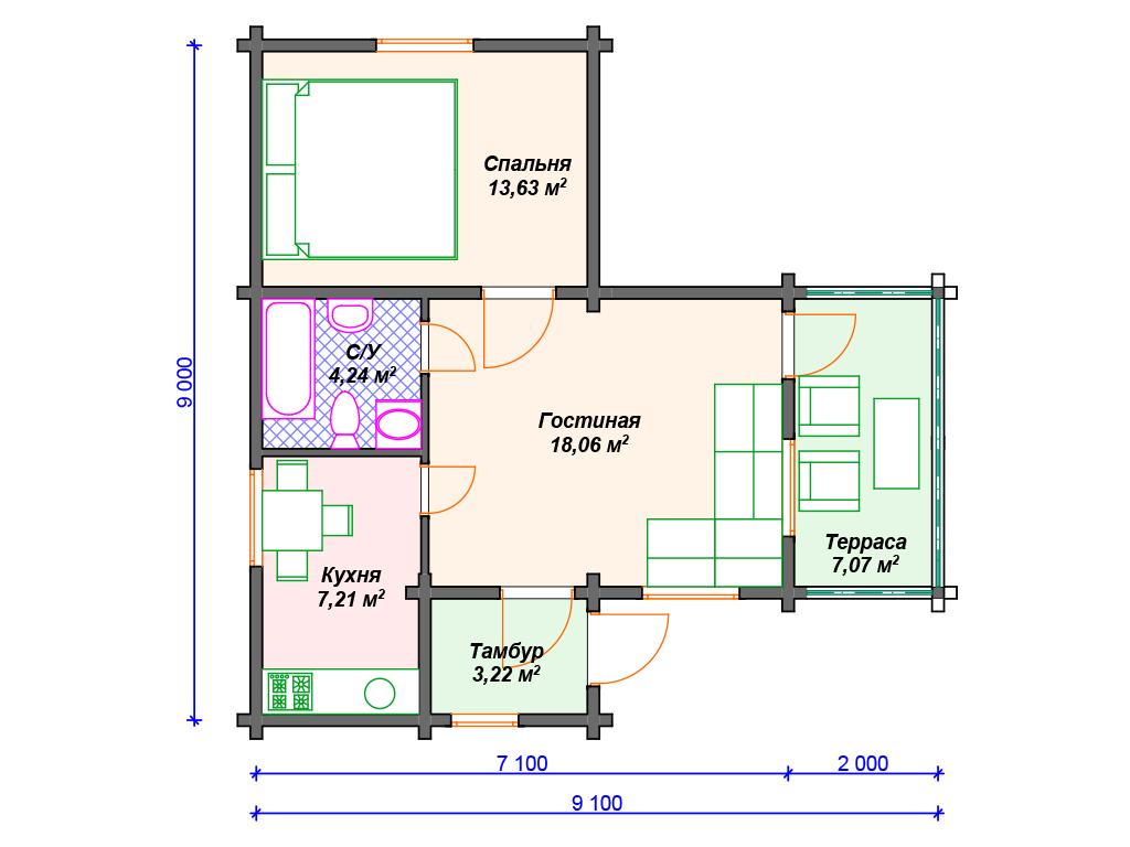 Дом ключ одноэтажный