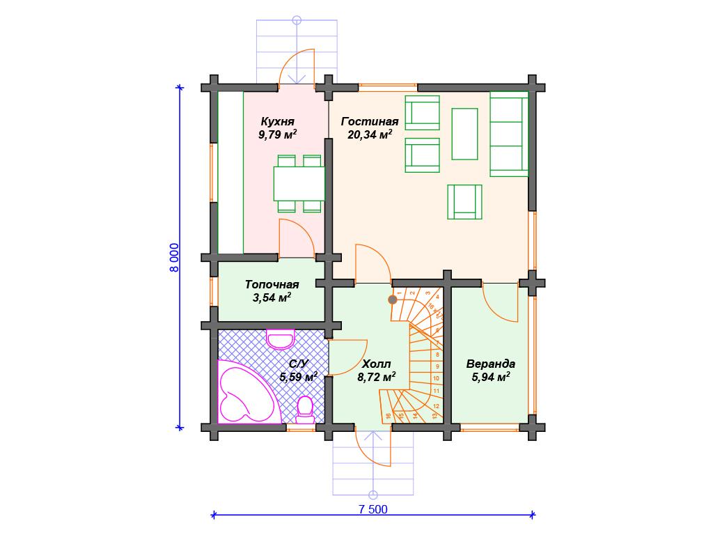 План дома 8 на 8 двухэтажный