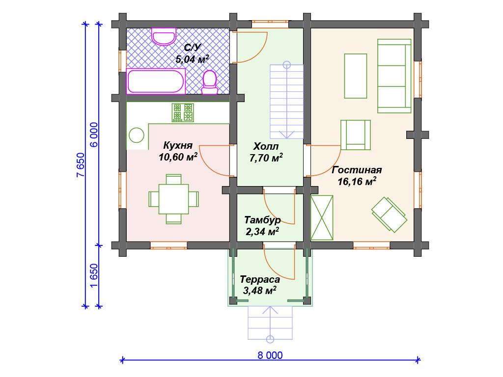 План двухэтажного дома 1 этаж