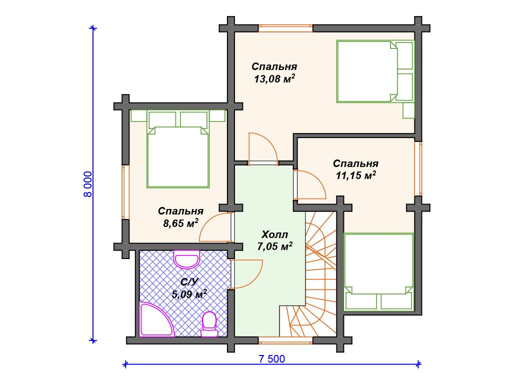 План проект дома двухэтажного