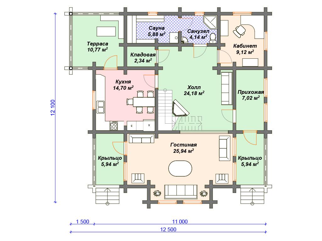 Планировка домов из оцилиндрованного бревна