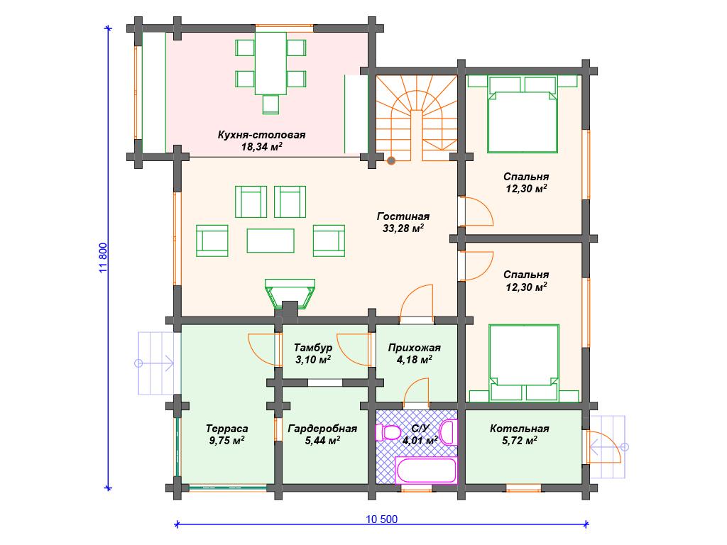 Планировки домов из бруса
