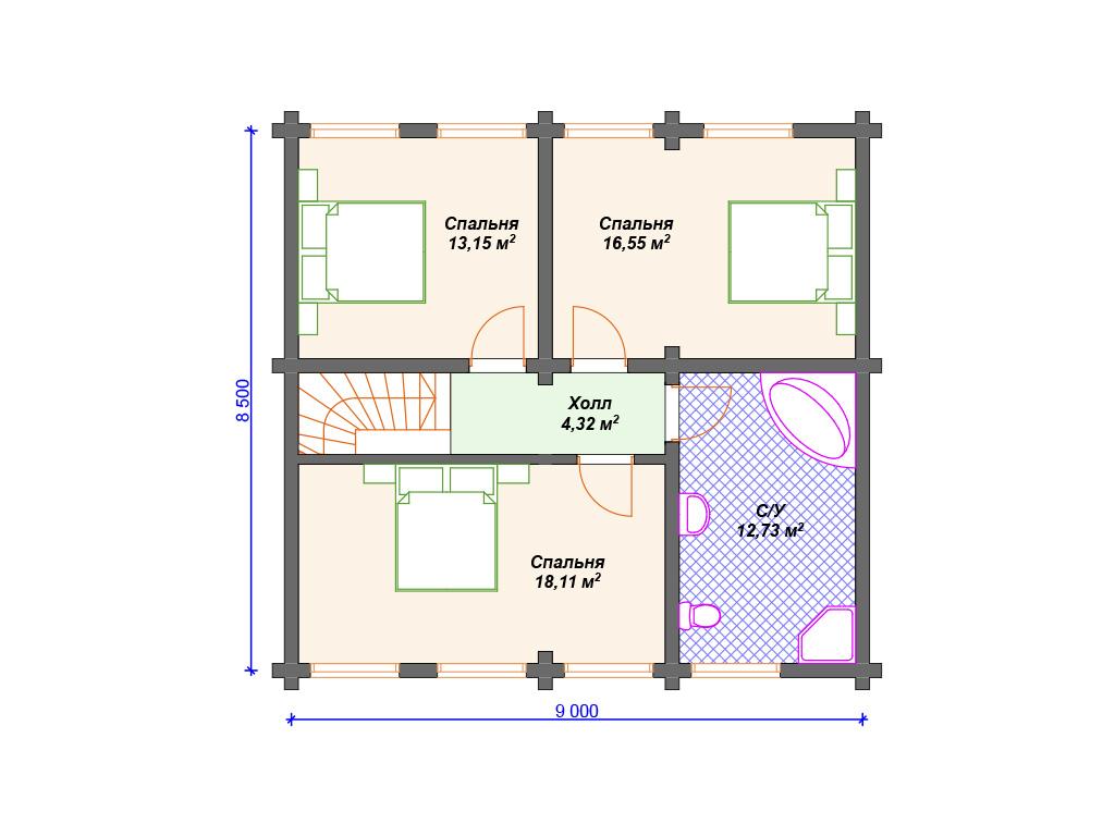 Проект дома из больших бревен