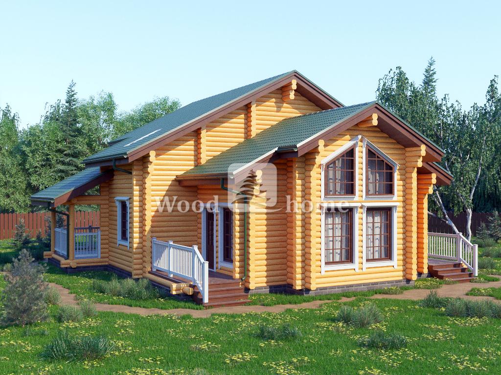 Проект двухэтажного дома из оцилиндрованного бревна
