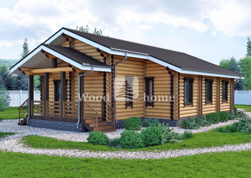 Проекты домов из бревна с террасой