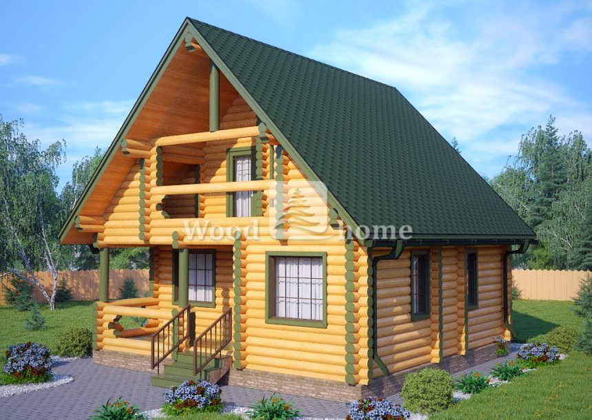 Срубы домов из оцилиндрованного бревна